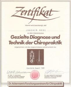 Zertifikat Chiropraktik